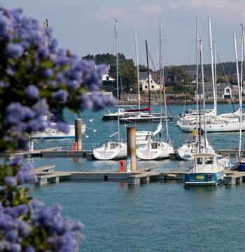 Vue-port-la-trinite-sur-mer-Petit-train-touristique-Carnac-Morbihan-Bretagne-Sud