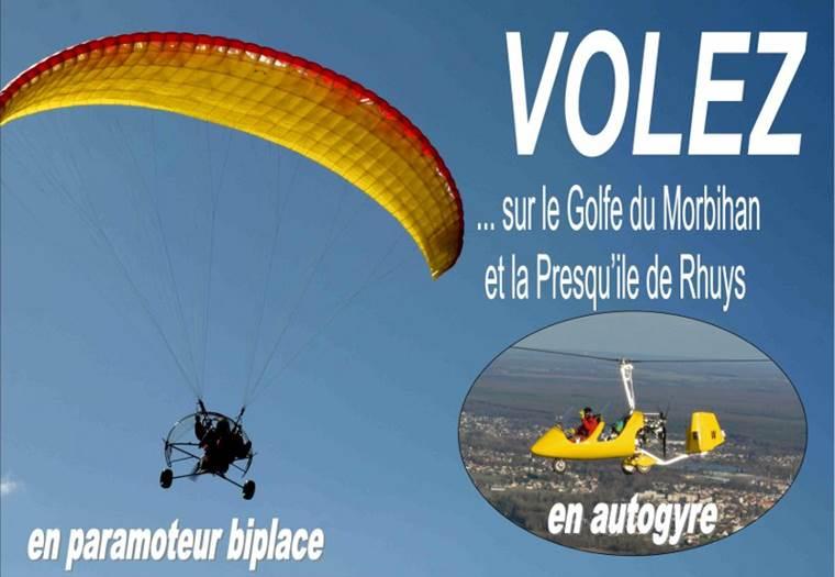 Paramoteur-Autogyre-Courant-d'Ailes-Sarzeau-Presqu'île-de-Rhuys-Golfe-du-Morbihan-Bretagne sud © Charon Christophe